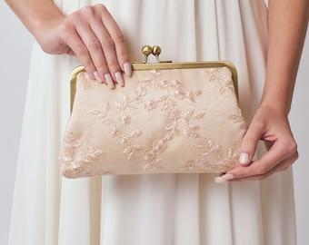 Bridesmaid Clutch   Blush Wedding Purse   Bridal Clutch   Blush Pink Lace Clutch [Antoinette Clutch: Seashell on Champagne]