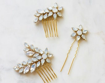 Opal Star Comb Set   Moonstone Wedding Hairpiece   Bridal Rhinestone Hairpins   Shooting Star Bridesmaid Pins [Astraea Set]