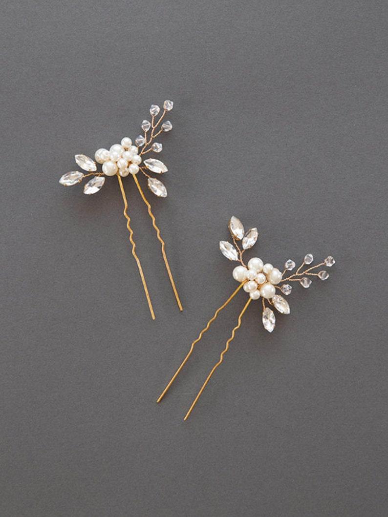 2eb341c23f Wedding Hair Accessories | Crystal Hairpin | Rhinestone Hair Pins | Pearl  Bridal Comb | Golden Bridal Headpiece | Bridesmaid [Senna Hairpin]