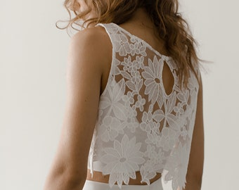 Minimalist Modern Lace Bridal Crop Top | Sheer Floral Bridal Topper | Bridal Separates | Lace Cover Up | Wedding Dress Top [Maeve Topper]