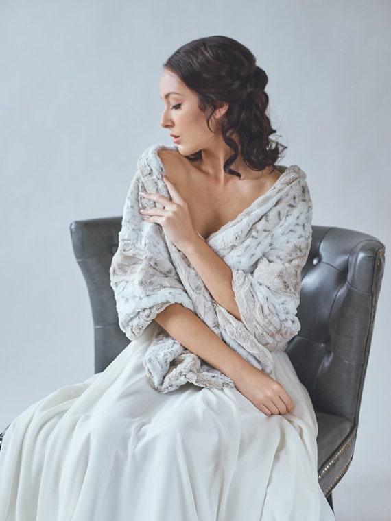 Wedding Shawl Faux Fur Stole Winter Wedding Bridal Fur Etsy