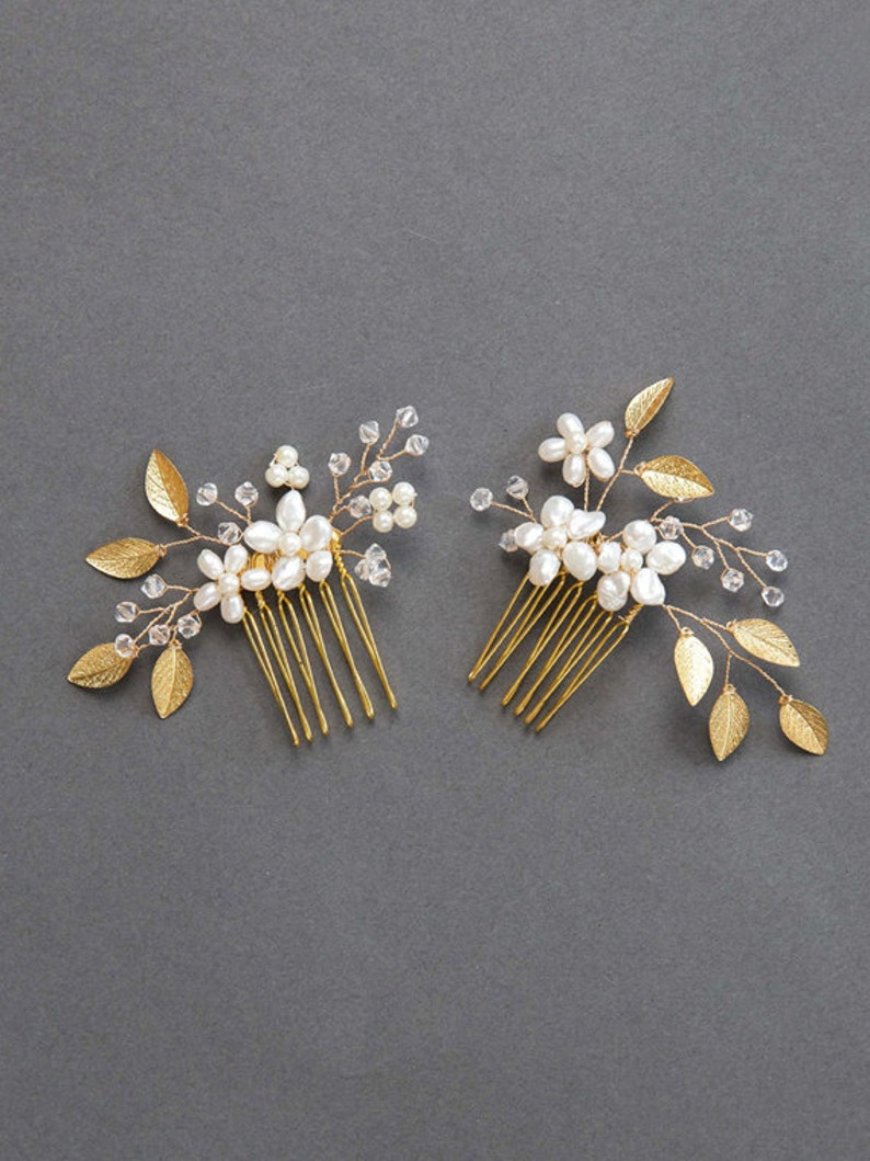 Wedding Hair Accessories  Gold Leaf Bridal Hair Comb  image 1