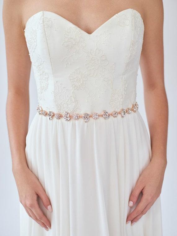 Rose Gold Bridal Sash Skinny Wedding Belt Rose Gold Etsy