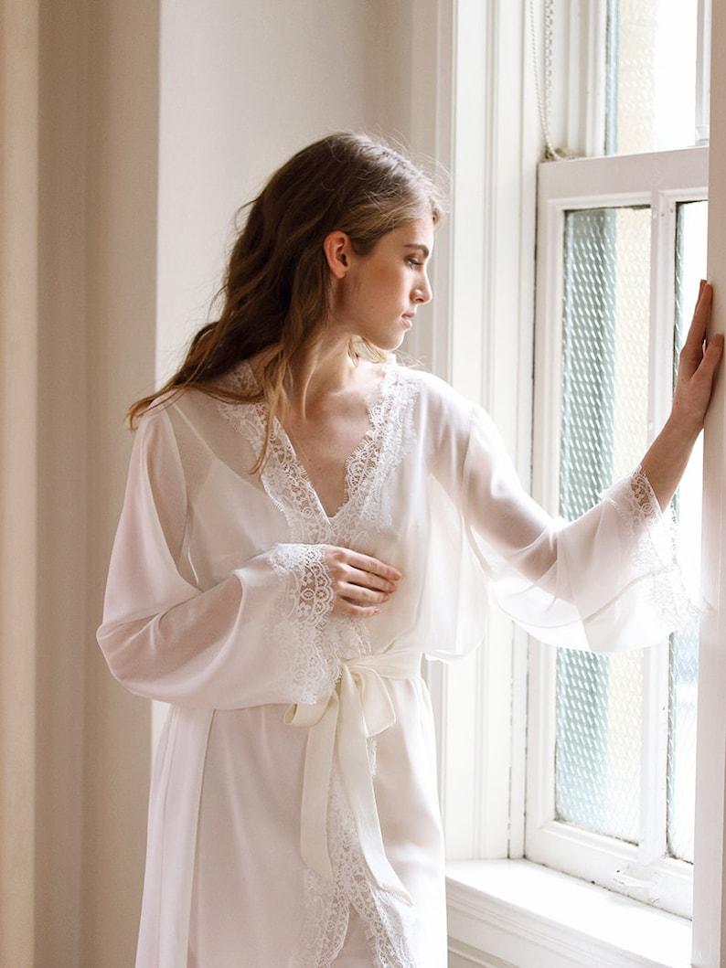 0d27f0b948 Chiffon Bridal Robe Floor Length Robe Kimono Robe Long