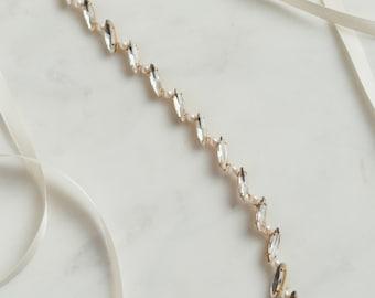 Pearl Bridal Belt   Minimal Wedding Belt   Wedding Dress Sash   Marquise Rhinestone Belt   Thin Bridal Belt [Paige Sash]