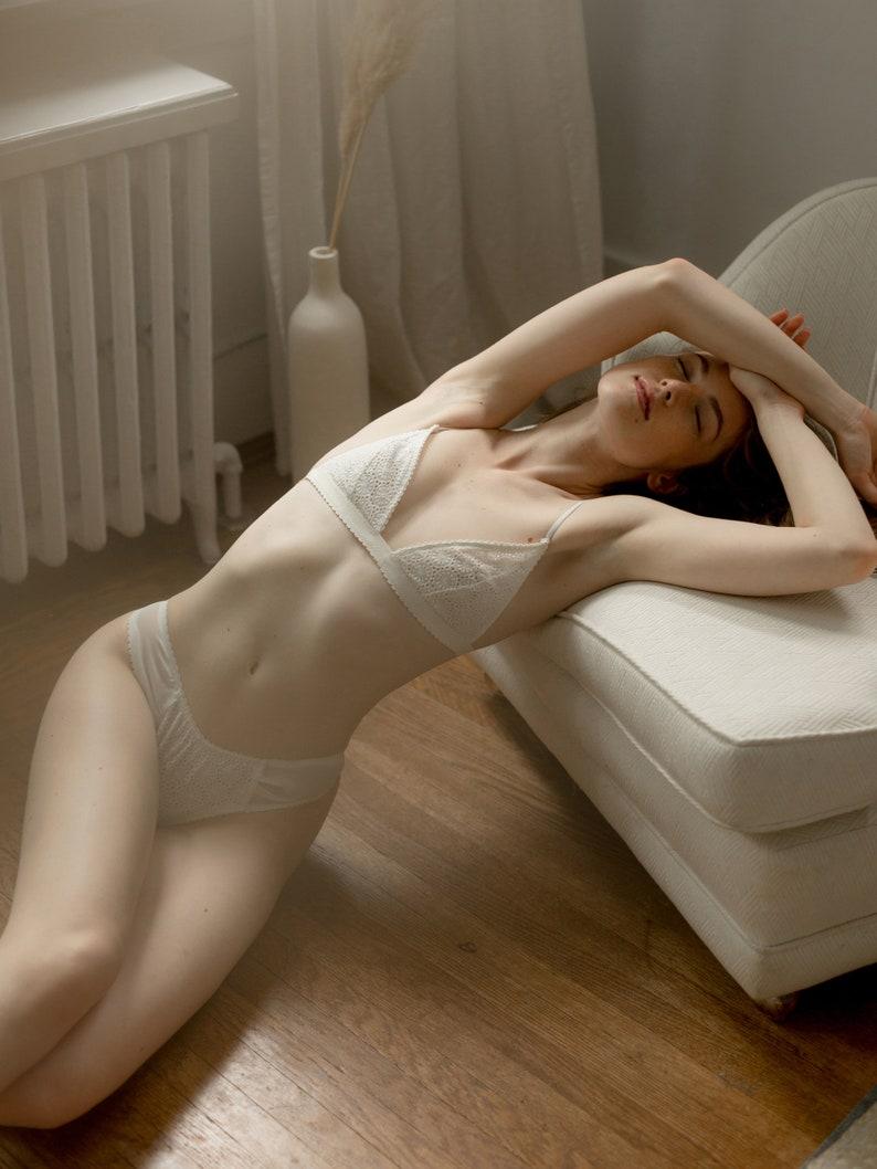 5ad1326cc0c Triangle Bralette | Bridal Bralette Set | Triangle Lace Bra | Soft Cup Bra  | Ivory Bralette | White Lace Bralette [Ophelia Bralette]