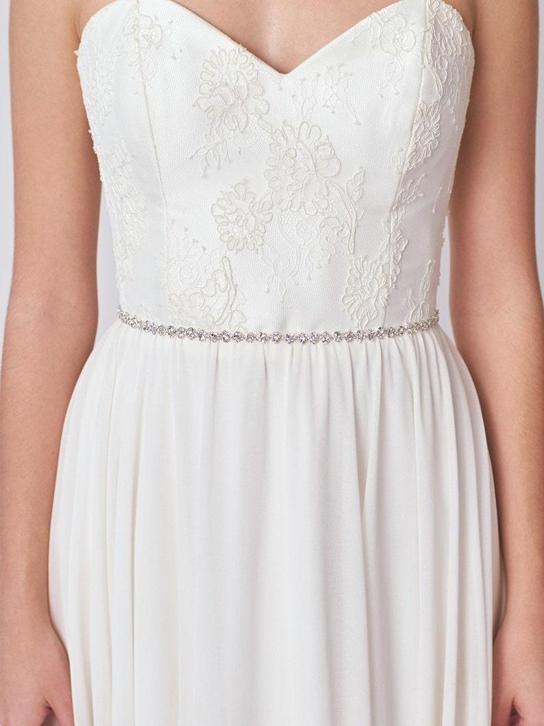 Thin Wedding Belt Skinny Bridal Dress Sash Silver Wedding  f39631eaacbd