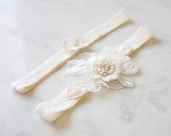 Wedding Garter Set | Lace Garter | Boho Bridal Garter | Wedding Toss Garter [Colette Garter Set]