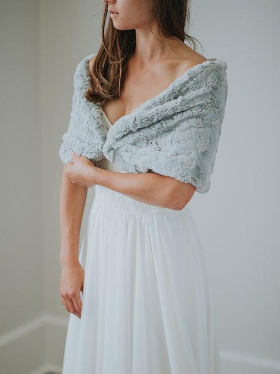 Faux Fur Wedding Shawl Winter Wedding Grey Bridal Fur Etsy