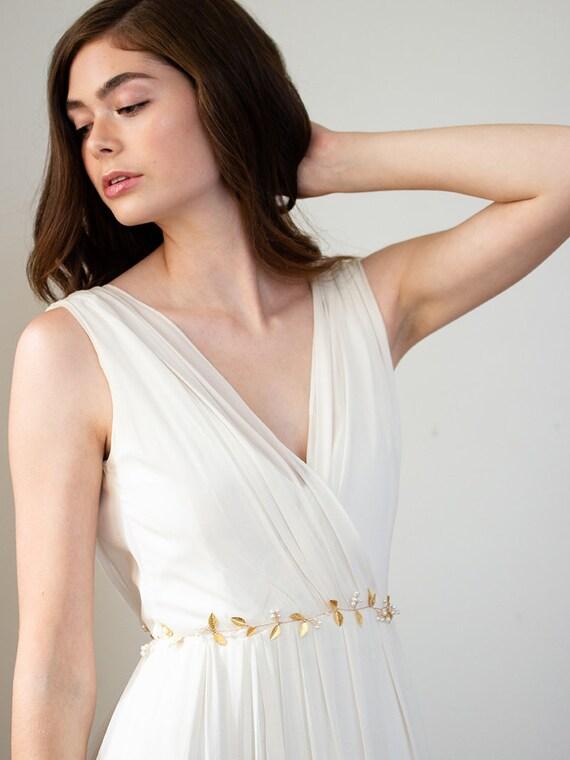 Gold Boho Bridal Sash Gold Skinny Wedding Dress Belt Thin Pearl Wedding Sash Gold Leaf Sash Bohemian Belt Adelia Sash