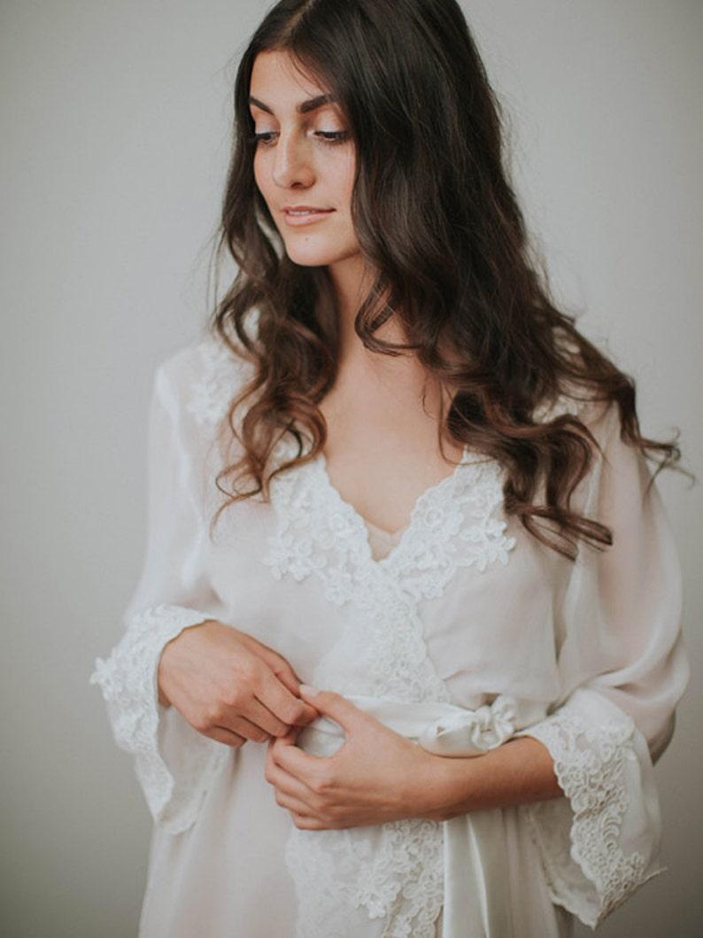 40984e2848 Lace Bridal Robe Floor Length Robe Ivory Silk Chiffon Robe