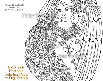 angel peacock fairy tangles printable coloring pages norma burnell angels to color digital coloring book sheets adult coloring for grownups