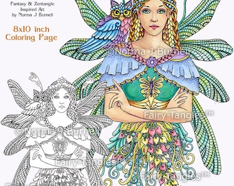 Fairy Tangles Printable Adult Coloring Sheets Norma J Burnell Etsy