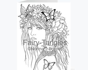 Fairy Tangles™ Coloring Sheets Digi Stamps & by FairyTangleArt