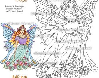 Fairy Tangles Printable Coloring Book Pages Grayscale Coloring Etsy