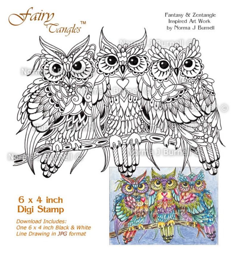 Threesome  Three Owls in a Tree Fairy Tangles Printable Digi image 0