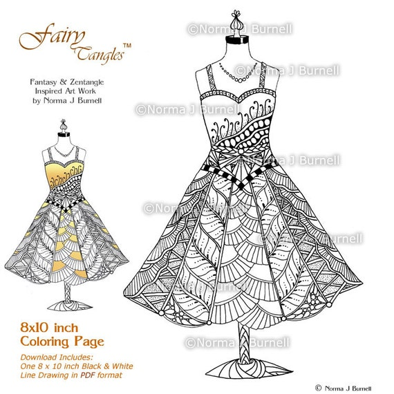 A Fairies Sundress Adult Printable Coloring Page by Norma Burnell 8x10  Digital Coloring Book Sheet Fairy Dress to Color Fairy Zentangle