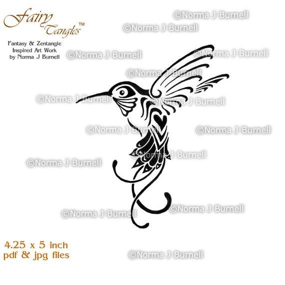 Fairy Tangles Printable Digital Stamp Zentangle Hummingbird Etsy