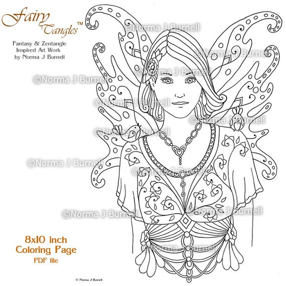 Fairy Tangles Printable Coloring Pages by Norma J Burnell Fairies to color  Fairy Coloring Book Sheets for Adult Coloring & Digital Coloring