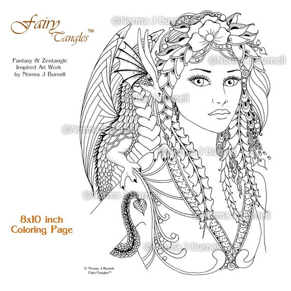 Fira Drake Fairy Tangles Printable Coloring Book Pages By Norma Burnell Digital Coloring Sheets Fairies Dragons To Color Adult Coloring