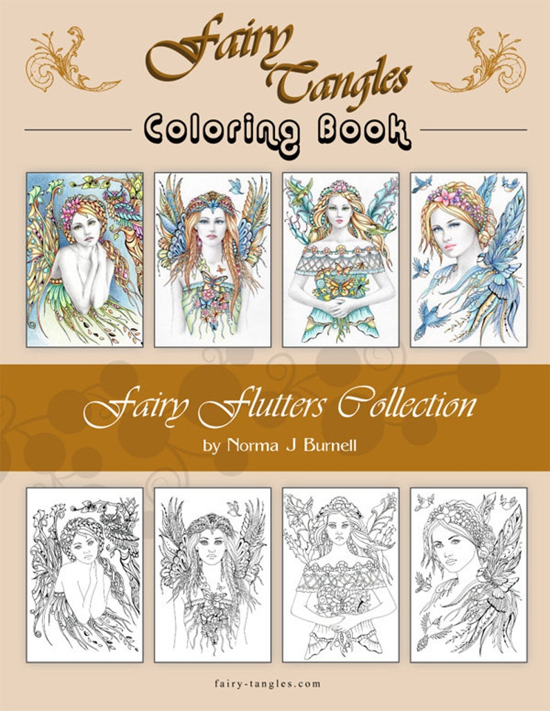 Fairy Tangles Printable Coloring Book Fairy Flutters image 0