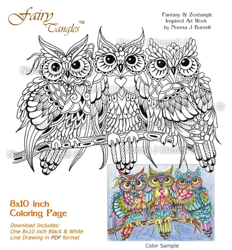 Threesome Three Owls In A Tree Fairy Tangles Adult Printable Etsy