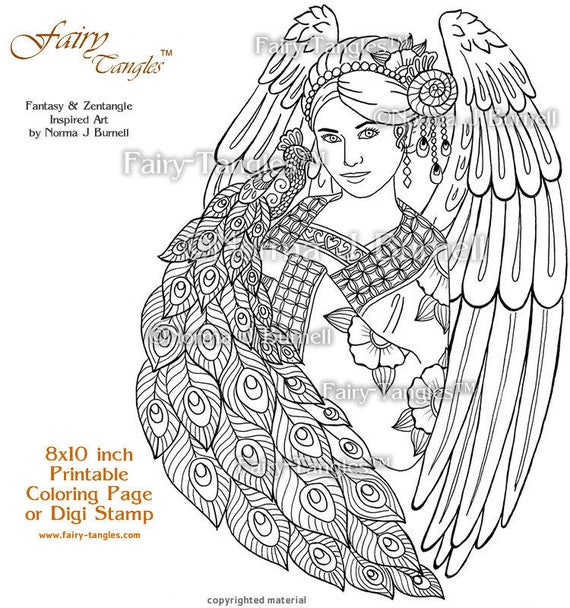 Angel Peacock Fairy Tangles Printable Coloring Pages Norma