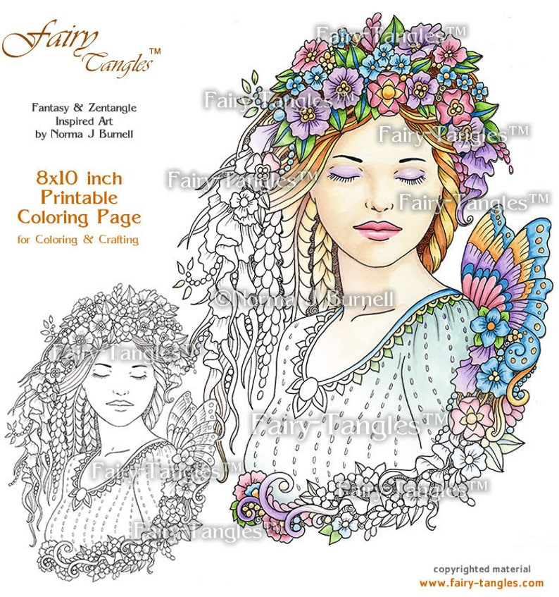 Dreaming Fairy Tangles Printable Coloring Book Pages & Sheets image 0