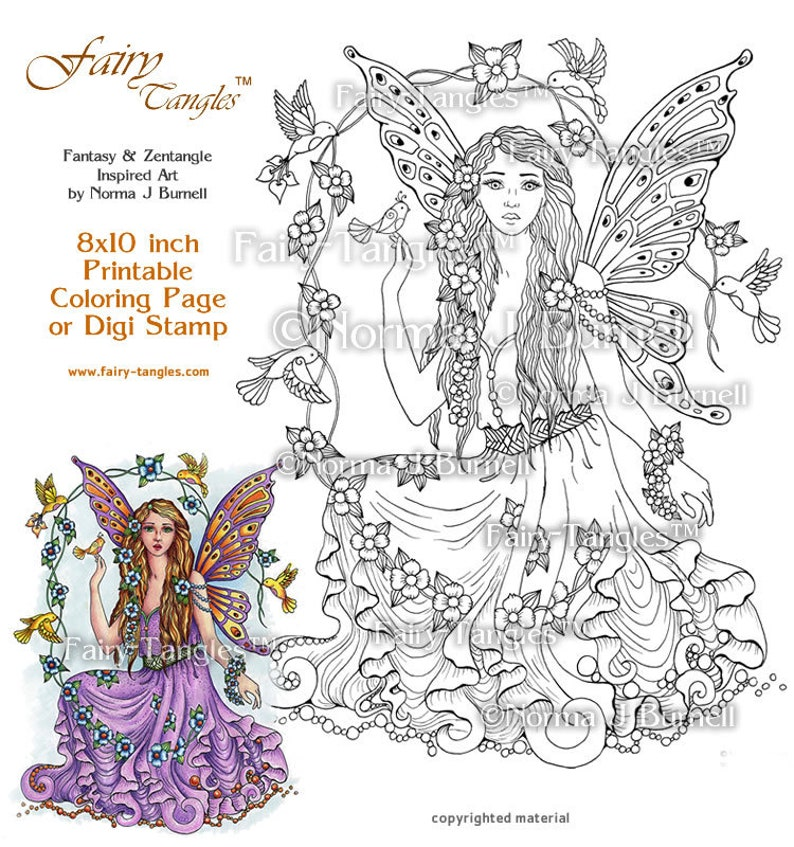 August's Song Fairy Tangles Adult Printable Coloring image 0
