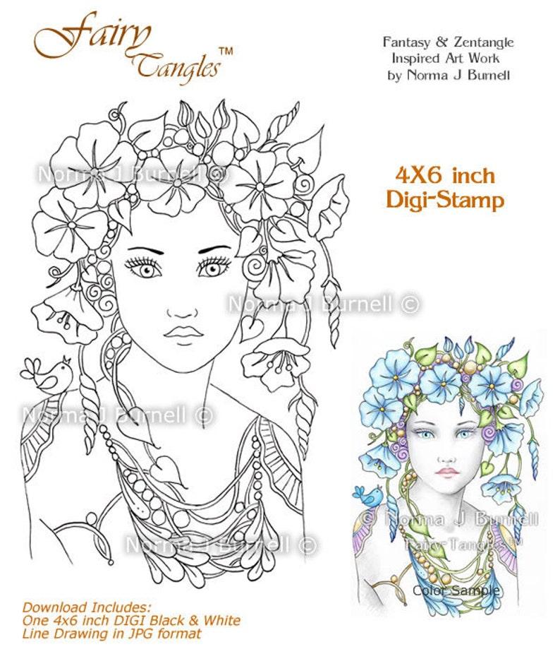 Morning Glory Flower Fairy Tangles Printable Digi Stamp image 0