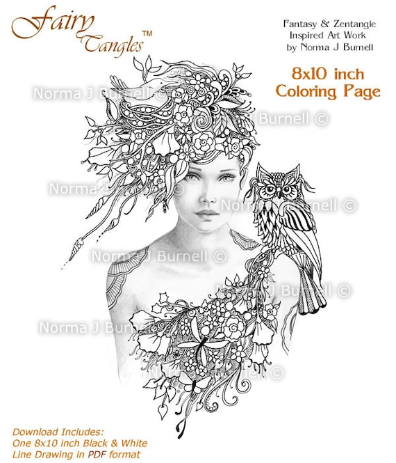 woodland meadow fairy tangles gray scale printable coloring etsy. Black Bedroom Furniture Sets. Home Design Ideas