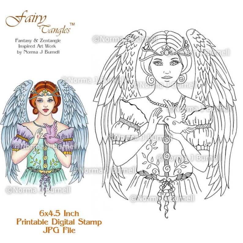 Angel Blessing Fairy Tangles Printable Digi Stamps Digital image 0
