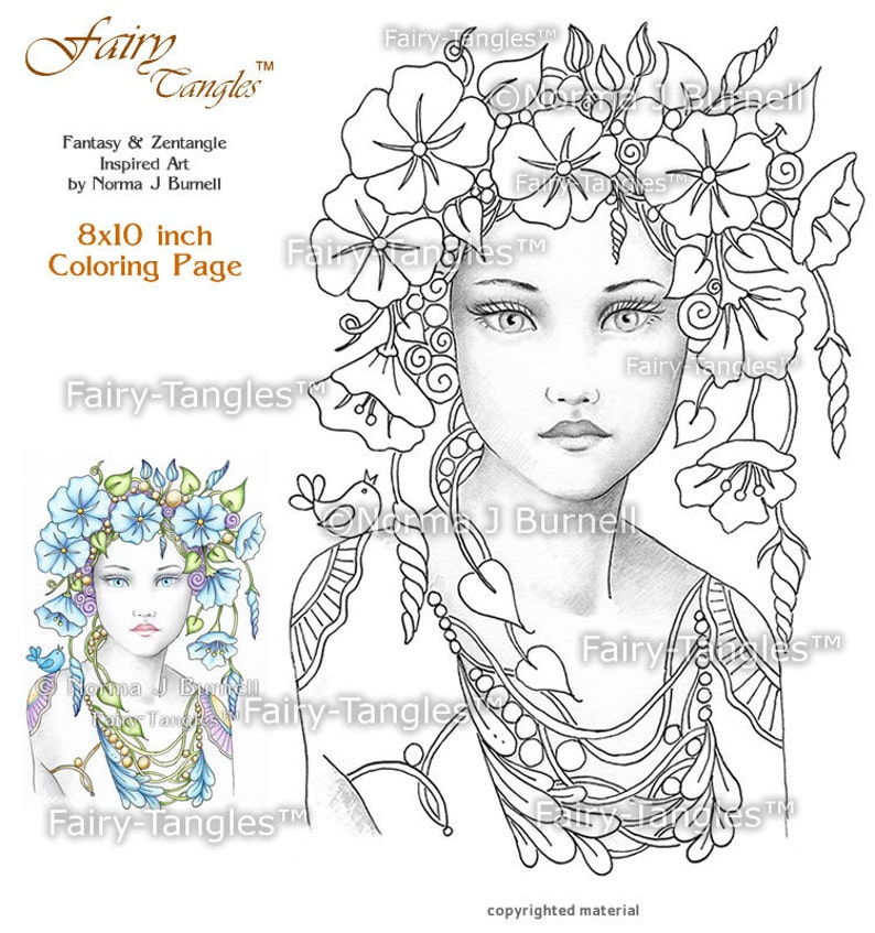 Morning Glory Fairy Tangles printable coloring book sheets image 0