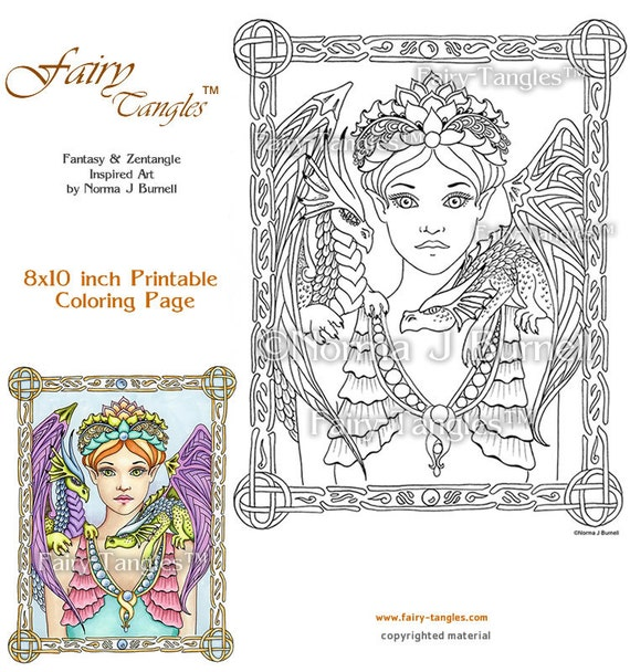 Fairy Queen Dragons Fairy Tangles Printable Coloring Book Etsy