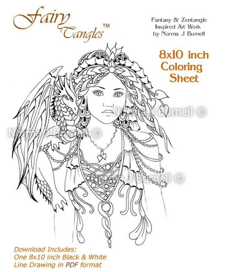 Fairy Queen of Dragons Fairy Tangles Adult Printable Coloring Sheets  Coloring book pages by Norma J Burnell Fairies and Dragons to color