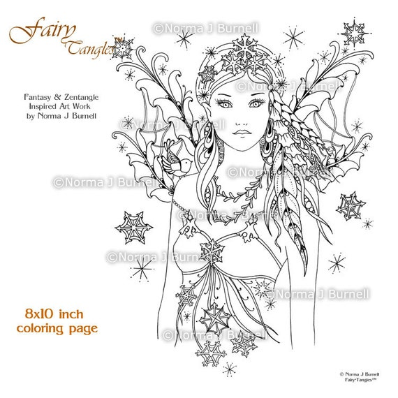 Snow Bird Winter Fairy Printable Coloring Book Page by ...