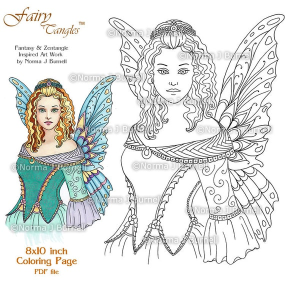 Fairy Queen Fairy Tangles Printable Coloring Pages By Norma J Etsy