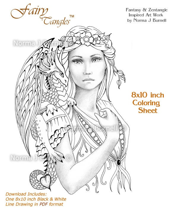 Fairy Dragon Queen Fairy Tangles Grayscale Coloring Sheets ...