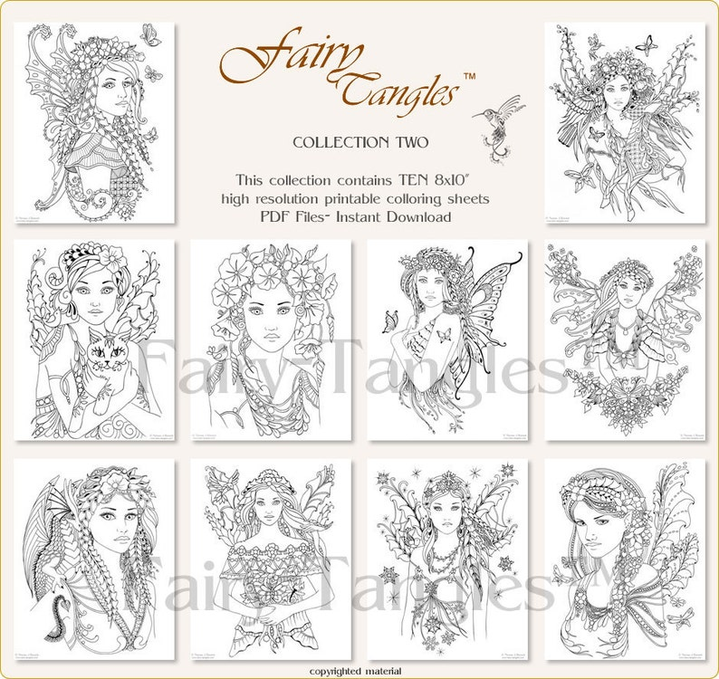 Fairy Tangles Printable Coloring Book Pages Bulk Collection 2 image 0