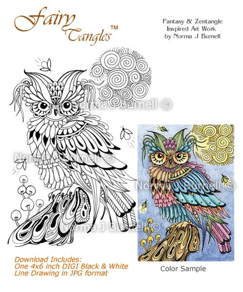 Firefly Friends Fairy Tangles Digital Stamp Zentangle Owl image 0