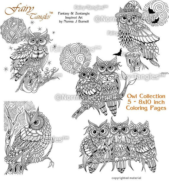 Owl Coloring Page Collection 5 Printable Owl Coloring Sheets Etsy