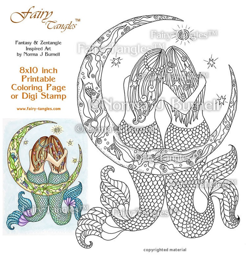 Star Dreaming Mermaids Sitting in Cresent Moon Fairy Tangles image 0