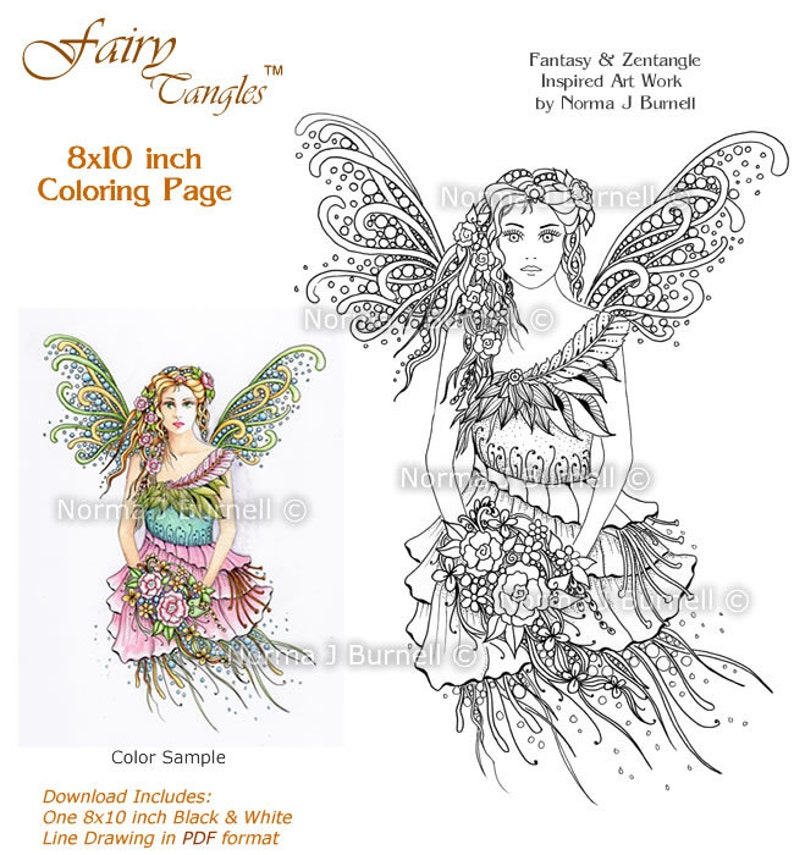 Innocence Fairy Tangles Printable Adult Coloring book Sheets & image 0