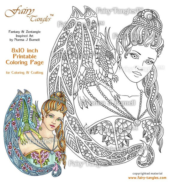 Giselle & Her Rainbow Dragon Fairy Tangles Printable Coloring Book Pages  Norma J Burnell Adult Coloring Sheets - Digital Coloring Images
