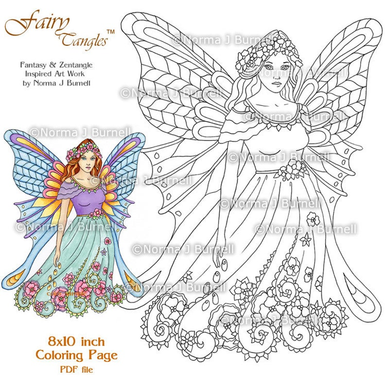 Fairy Tangles Printable Coloring Pages by Norma J Burnell   Etsy