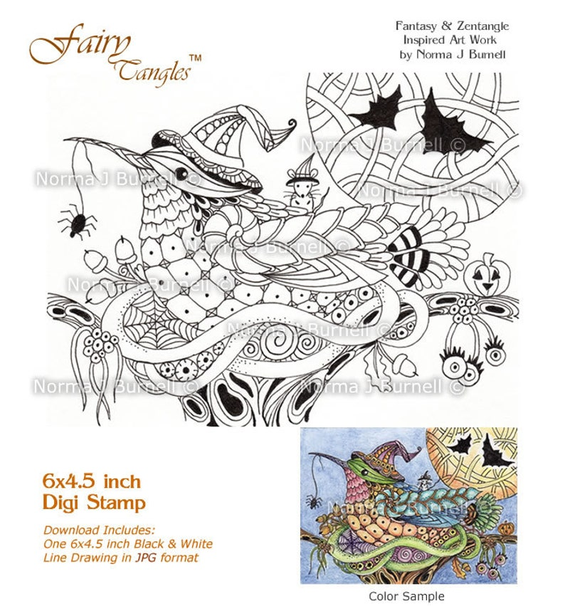 Halloween Trick or Treat Hummingbird Fairy Tangles Digi Stamps image 0