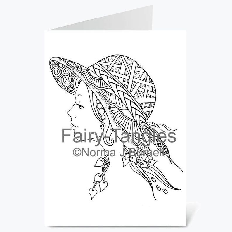Printable Fairy Tangles Greeting Cards to Color by Norma J image 0
