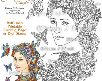 nesting time fairy tangles printable coloring book pages by norma j burnell coloring book sheets for adult coloring for grownups fairies