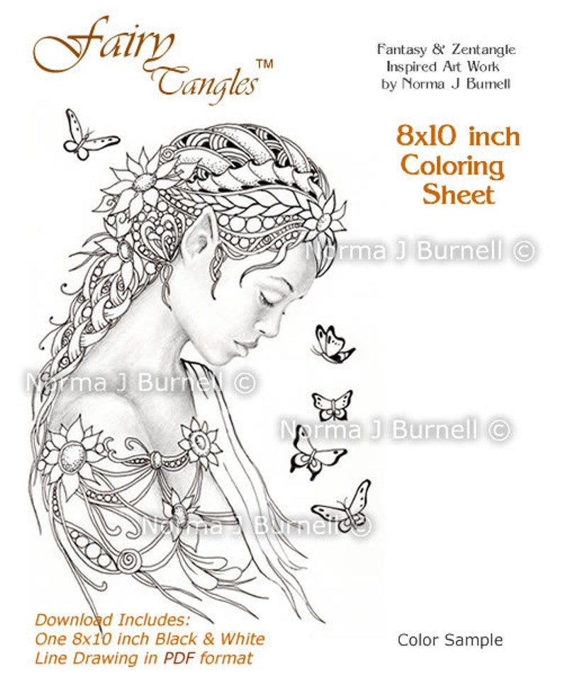 Dreamer Fairy Tangles Printable Coloring Book Sheets & Pages image 0