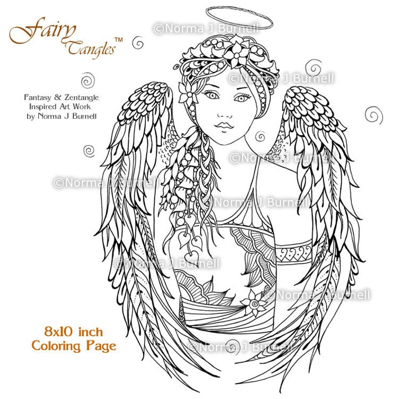 picture regarding Angels Printable Schedule known as Angel Fairy Tangles Grownup Printable Coloring E-book Web pages as a result of Norma Burnell Electronic Coloring Sheets Angels toward shade Grownup Coloring for Grown ups